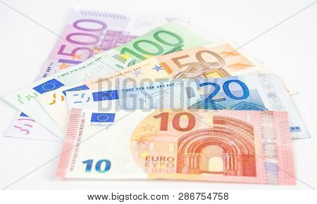 Five Euro Bills Totalling To 680 Euro Bill. Consisting Of 500 100 50 20 And 10 Euro Bills