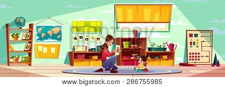 Nursery School Teacher, Kindergarten Nurse Studying Abc Letters With Little Toddler, Preschooler Gir