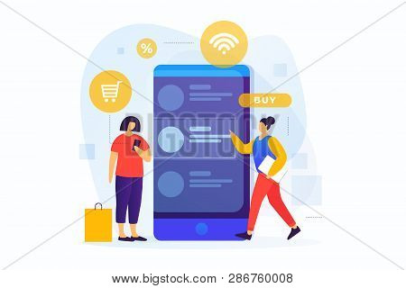 Concept Of Online Payments, Mobile Shopping. Online Shopping. Image Of Young Girls At The Screen Of