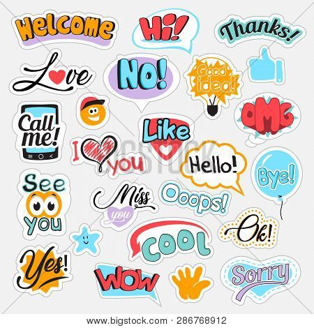 Set Of Speech Bubbles With Different Words For Communication In Social Media. Isolated Vector Illust