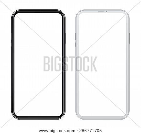 White And Black Smart Phones In Front Side On White Background. Realistic Vector Illustration, For G
