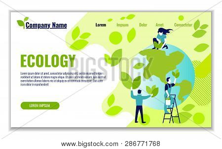 Website Template Of Ecology And Generation And Saving Green Energy For Graphic And Web Design, Flat