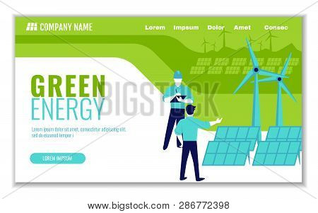Website Template Of Green Energy And Saving Ecology, For Graphic And Web Design, Flat Design Vector