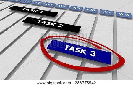Task 1 2 3 Project Shedule Jobs Timeline Gantt Chart 3d Illustration
