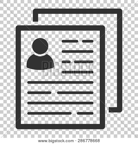Resume Icon In Flat Style. Contract Document Vector Illustration On Isolated Background. Resume Busi