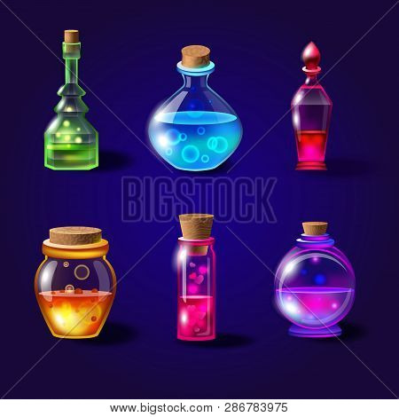 Set Of Realistic Magical Bottles With Poison. Vector Potion Bottles Set With Transparent Glass For G