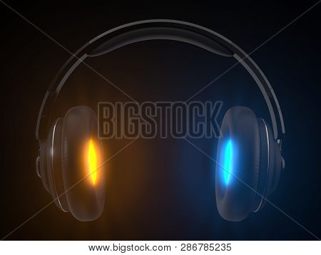 Wireless Headphone With Energy Emision. Concept Design For Audiophile Themes. 3d Illustration