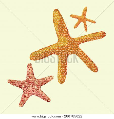 A Starfish In A Mosaic Style. Starfish On Yellow Background, Vector Clip Art. Illustrations For Summ