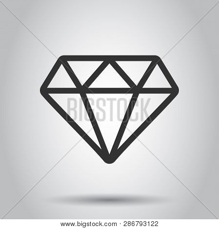 Diamond Jewel Gem Vector Icon In Flat Style. Diamond Gemstone Illustration On White Background. Jewe