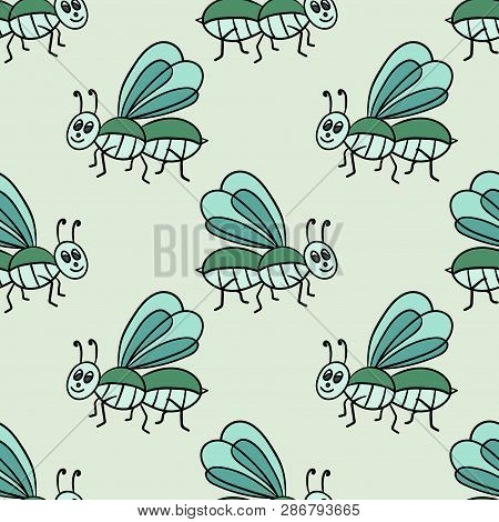 Seamless pattern with cartoon doodle linear midge, fly. Childlike insect background. Vector illustration. poster
