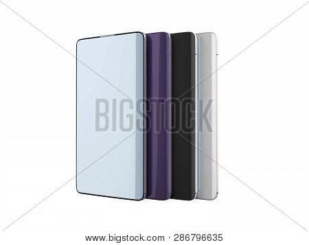 Modern Full Screen Smart Phones Random Color 3d Render On White No Shadow