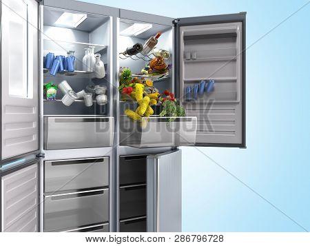 Open Stainless Steel Modern Refrigerator On Blue 3d Illustration