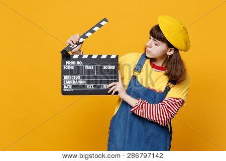 Girl Teenager In French Beret And Denim Sundress Looking On Classic Black Film Making Clapperboard I