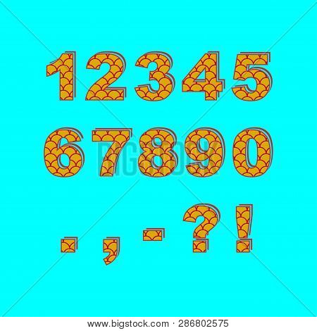 Decorative numbers and punctuation marks. Saturated fish scale pattern. poster