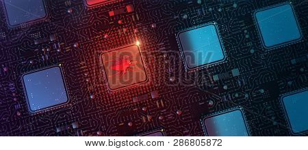 red glowing compiter bug on infected chip in cyberspace 3d redner. spyware, malware, virus trojan, keylogger, hacker attack illustration poster