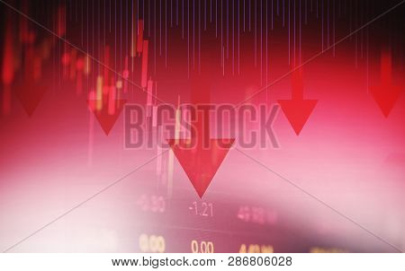 Stock Crisis Red Price Arrow Down Chart Fall Stock Market Exchange Analysis Of Forex Charts Graph Bu