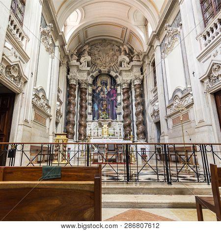 Lisbon - July 16, 2018:  Detail Of The Main Chapel Of The 18th Century Baroque Parish Church Of St J