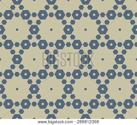 Vector Geometric Seamless Pattern. Blue And Gold Background. Simple Vector Abstract Texture With Sma