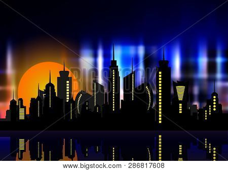 Futuristic City In Neon Lights. Retro Style 80s. Night City. Creative Idea. Design Background, Night