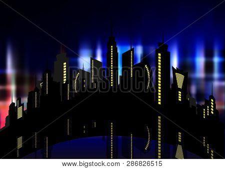 Futuristic City In Neon Lights. Retro Style 80s. Night City. Creative Idea. Design Background, Night