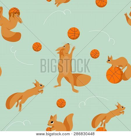 Cartoon Set, Seamless Pattern With Playful Squirrels Plaing In Basketball