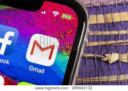 Helsinki, Finland, February 17, 2019: Google Gmail Application Icon On Apple Iphone X Smartphone Scr
