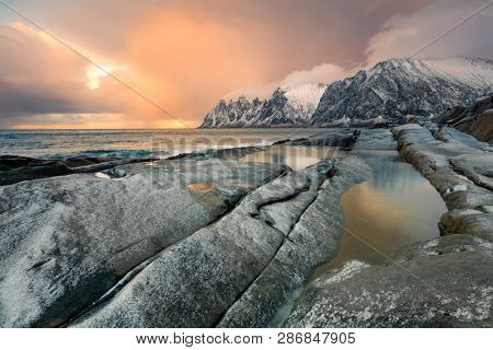 Great Dramatic Sky Sunrise Landscape. Wild Northern nature. Large size. Norway, Senja island