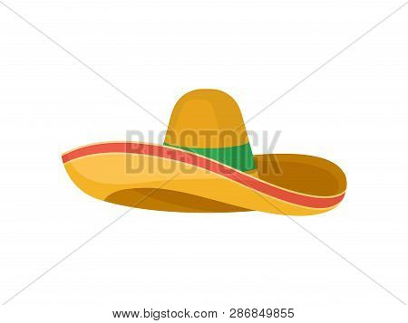 Classic Brown Straw Sombrero. Traditional Mexican Headdress. Broad-brimmed Hat. Flat Vector Design