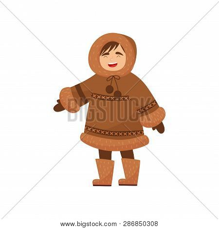 Laughing Eskimo Boy In Traditional Clothes. Kid In Warm Winter Coat, Mittens And Boots. Flat Vector