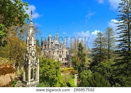 Sintra, Portugal - April 2018: Park View On The Palace Of Quinta Da Regaleira
