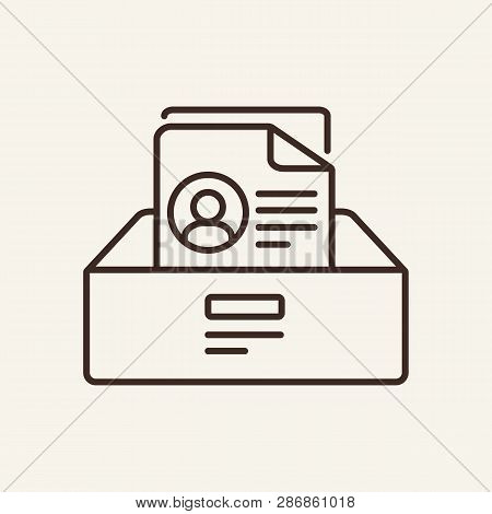 Personal File Line Icon. Document, Record, Information. Archive Concept. Can Be Used For Topics Like