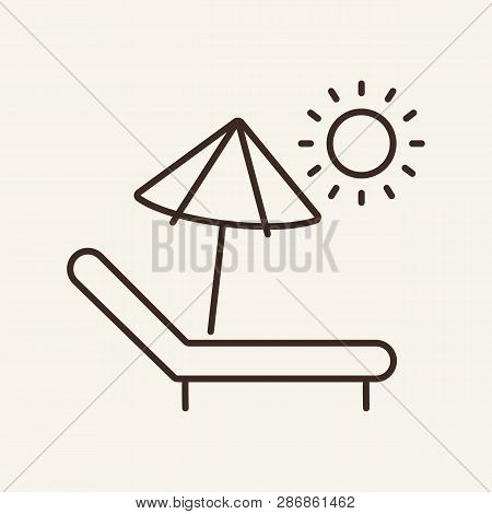 Sun Lounger Line Icon. Recreation, Comfort, Idyllic. Vacation Concept. Can Be Used For Topics Like H