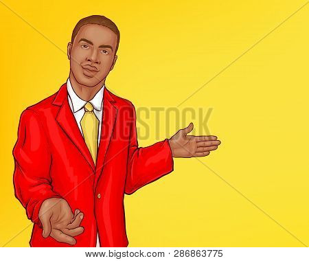 Vector Pop Art Pretty African Man In Red Jacket Points Direction. The Handsome Character In The Suit