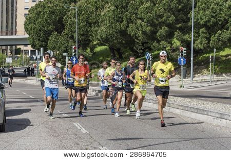Lisboa, Portugal - April 2018: Participants Of The Annual City Marathon, Dedicated To The Liberty Da