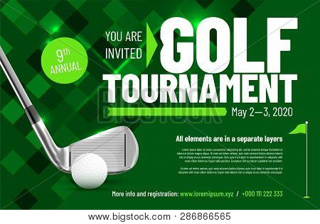 Template For Your Golf Tournament Invitation With Sample Text In Separate Layer - Vector Illustratio