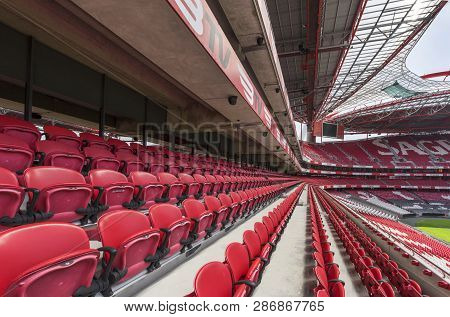 Lisboa, Portugal - April 2018: Tribunes At Estadio Da Luz - The Official Playgrounds Of Fc Benfica