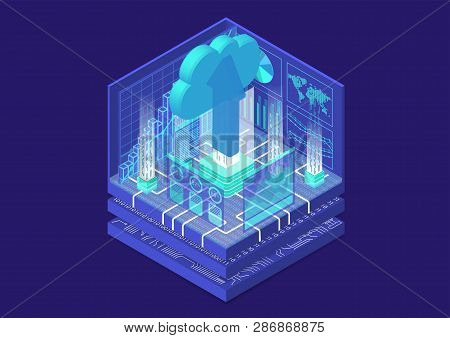 Cloud Migration Concept With Symbol Of Floating Cloud And Upload Arrow As Isometric 3d Vector Illust