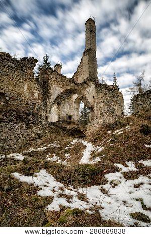 Ruins Of Castle Sklabina In Slovaka. Long Expo