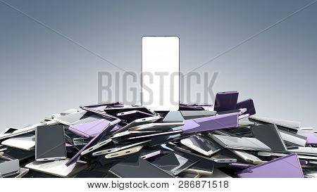 Concept Of Flagman Model Modern Full Screen Smart Phones Random Color 3d Render On Grey