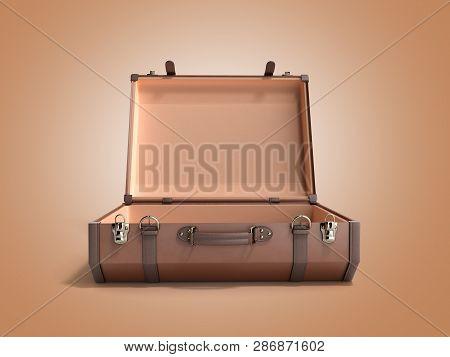 Open Vintage Suitcase 3d Render On Color Background