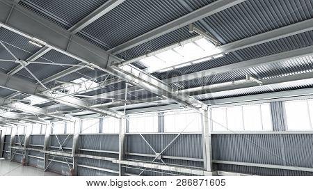 Empty Hangar Delivery Warehouse 3d Render Illustration