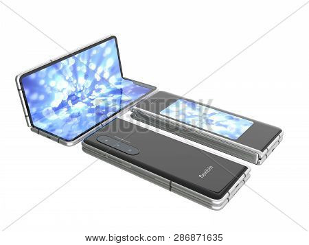 First Serial Flexible Phone 3d Render On White No Shadow