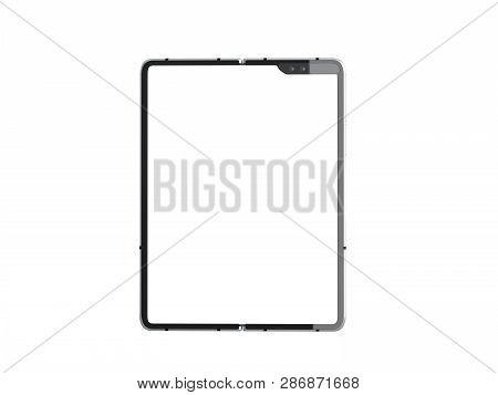 Modern Flexible Smart Phone White Screen For Mockup 3d Render On White No Shadow