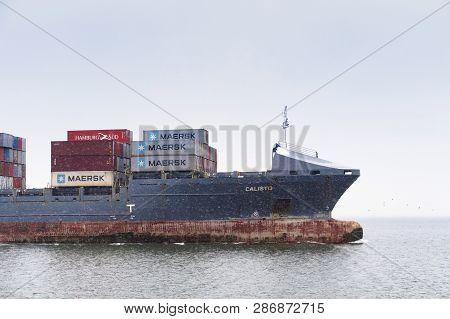 Container Ship, Cargo Ship In Winter, Baltic Sea Canal, Shipping Channel Baltic Sea, Baltiysk, Kalin