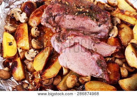 Grilled Pork Meat With Potatoes. Barbecue. Selective Focus.