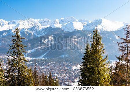A Beautiful View Of The City Of Zakopane Lying At The Foot Of The Polish Tatra Mountains. Sunny, Bea