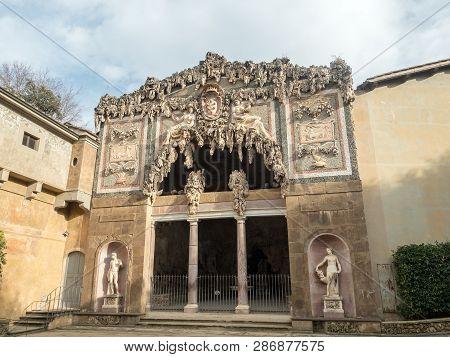 Florence, Tuscany, Italy, Entrance Of The Buontalenti Grotto In Boboli Gardens. Unesco World Heritag