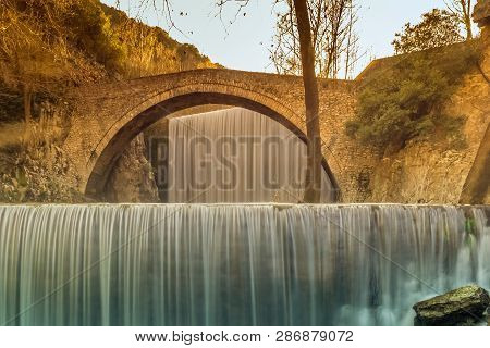 Palaiokaria Waterfall At Trikala In Greece. Colorful View.