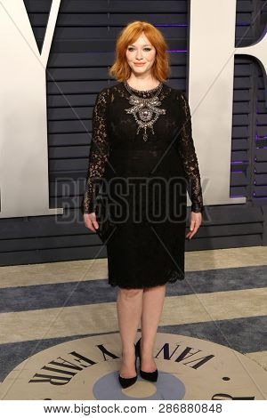 BEVERLY HILLS - FEB 24: Christina Hendricks at the 2019 Vanity Fair Oscar Party at The Wallis Annenberg Center for the Performing Arts on February 24, 2019 in Beverly Hills, CA