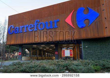 Bucharest, Romania - 26 February 2019: Carrefour Supermarket Logo On Parklake Shopping Center Mall.